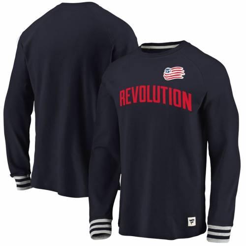 FANATICS BRANDED スリーブ Tシャツ 灰色 グレー グレイ メンズファッション トップス カットソー メンズ 【 New England Revolution Heritage Long Sleeve T-shirt - Navy/heathered Gray 】 Navy/heathered Gray