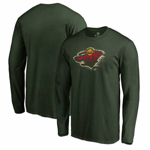 FANATICS BRANDED ミネソタ ワイルド ロゴ スリーブ Tシャツ 緑 グリーン メンズファッション トップス カットソー メンズ 【 Minnesota Wild Splatter Logo Big And Tall Long Sleeve T-shirt - Green 】 Green