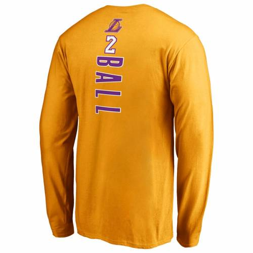 FANATICS BRANDED レイカーズ スリーブ Tシャツ メンズファッション トップス カットソー メンズ 【 Lonzo Ball Los Angeles Lakers Backer Name And Number Long Sleeve T-shirt - Gold 】 Gold