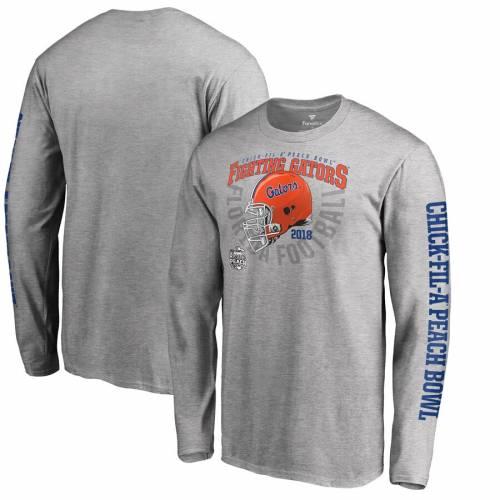 FANATICS BRANDED フロリダ スリーブ Tシャツ ヘザー 灰色 グレー グレイ メンズファッション トップス カットソー メンズ 【 Florida Gators 2018 Peach Bowl Bound Cover Long Sleeve T-shirt - Heather Gray 】 Heat