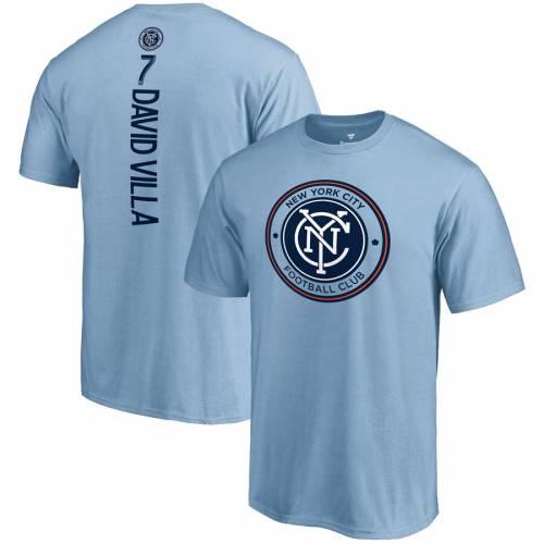 FANATICS BRANDED シティ Tシャツ 青 ブルー & 【 BLUE FANATICS BRANDED DAVID VILLA NEW YORK CITY FC BACKER NAME NUMBER TSHIRT LIGHT 】 メンズファッション トップス Tシャツ カットソー