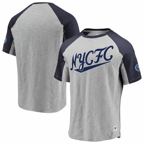 FANATICS BRANDED シティ ラグラン Tシャツ メンズファッション トップス カットソー メンズ 【 New York City Fc Heritage Goal Line Raglan T-shirt - Heathered Gray/navy 】 Heathered Gray/navy