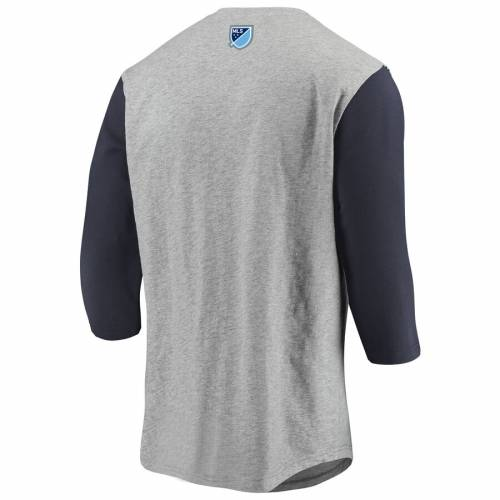 FANATICS BRANDED シティ ラグラン Tシャツ 灰色 グレー グレイ 紺 ネイビー 【 RAGLAN GRAY NAVY FANATICS BRANDED NEW YORK CITY FC HERITAGE EMBROIDERED 3 4SLEEVE TSHIRT HEATHERED 】 メンズファッション トップス Tシ