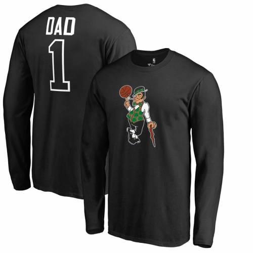 FANATICS BRANDED ボストン セルティックス スリーブ Tシャツ 黒 ブラック #1 メンズファッション トップス カットソー メンズ 【 Boston Celtics Big And Tall #1 Dad Long Sleeve T-shirt - Black 】 Black