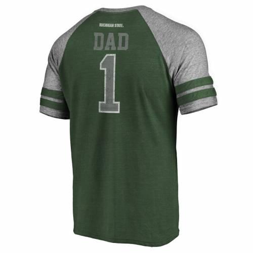 FANATICS BRANDED ミシガン スケートボード ラグラン Tシャツ 緑 グリーン メンズファッション トップス カットソー メンズ 【 Michigan State Spartans Greatest Dad Raglan Tri-blend T-shirt - Green 】 Green
