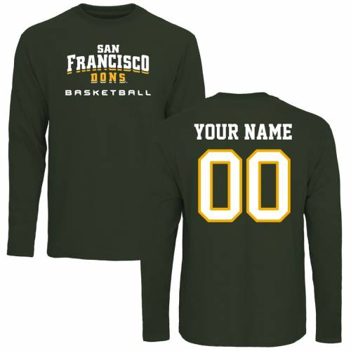 FANATICS BRANDED バスケットボール スリーブ Tシャツ 緑 グリーン メンズファッション トップス カットソー メンズ 【 [customized Item] San Francisco Dons Personalized Basketball Long Sleeve T-shirt - Green 】 Gr