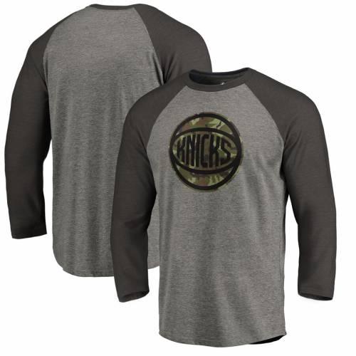FANATICS BRANDED ニックス コレクション プレスティージ ラグラン Tシャツ 灰色 グレー グレイ メンズファッション トップス カットソー メンズ 【 New York Knicks Camo Collection Prestige 3/4-sleeve Rag