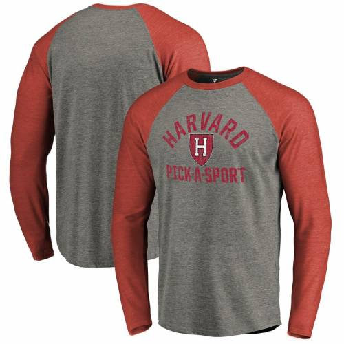 FANATICS BRANDED ハーバード スリーブ ラグラン Tシャツ 灰色 グレー グレイ [CUSTOMIZED ITEM] 【 SLEEVE RAGLAN GRAY FANATICS BRANDED HARVARD CRIMSON DISTRESSED PICKASPORT LONG TRIBLEND TSHIRT HEATHERED 】 メンズファッ