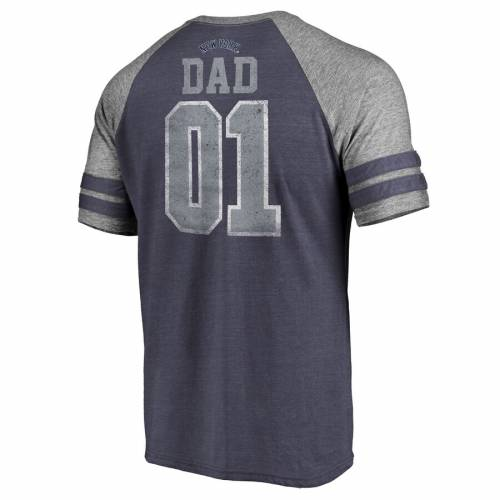 FANATICS BRANDED ヤンキース ストライプ ラグラン Tシャツ 紺 ネイビー メンズファッション トップス カットソー メンズ 【 New York Yankees 2019 Fathers Day Greatest Dad Two Stripe Raglan Tri-blend T-shirt - Na