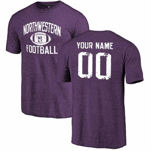 FANATICS BRANDED Tシャツ 紫 パープル [CUSTOMIZED ITEM] 【 PURPLE FANATICS BRANDED NORTHWESTERN WILDCATS PERSONALIZED DISTRESSED FOOTBALL TRIBLEND TSHIRT 】 メンズファッション トップス Tシャツ カットソー