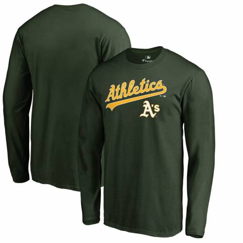 FANATICS BRANDED オークランド チーム スリーブ Tシャツ 緑 グリーン メンズファッション トップス カットソー メンズ 【 Oakland Athletics Big And Tall Team Lockup Long Sleeve T-shirt - Green 】 Green