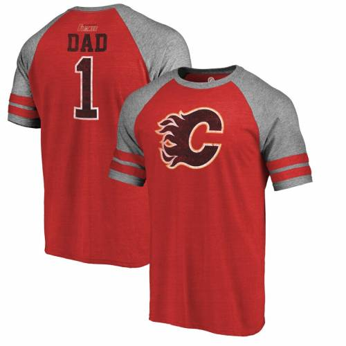 FANATICS BRANDED ラグラン Tシャツ 赤 レッド メンズファッション トップス カットソー メンズ 【 Calgary Flames Fathers Day Greatest Dad Raglan Tri-blend T-shirt - Red 】 Red
