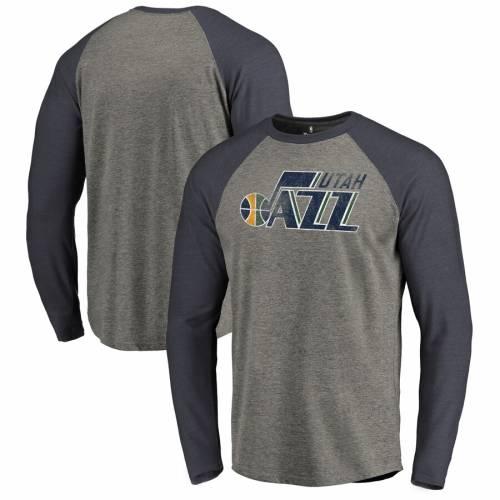 FANATICS BRANDED ユタ ジャズ ロゴ ラグラン スリーブ Tシャツ メンズファッション トップス カットソー メンズ 【 Utah Jazz Distressed Logo Tri-blend Raglan Big And Tall Long Sleeve T-shirt - Ash/navy 】 Ash/navy
