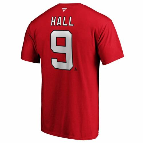 FANATICS BRANDED ジャージ オーセンティック Tシャツ 赤 レッド & 【 RED FANATICS BRANDED TAYLOR HALL NEW JERSEY DEVILS AUTHENTIC STACK PLAYER NAME NUMBER TSHIRT 】 メンズファッション トップス Tシャツ カット