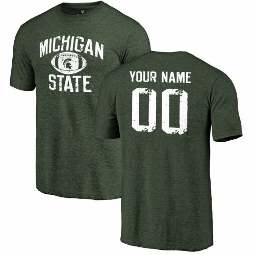 FANATICS BRANDED ミシガン スケートボード Tシャツ 緑 グリーン メンズファッション トップス カットソー メンズ 【 [customized Item] Michigan State Spartans Personalized Distressed Football Tri-blend T-shirt - Gre