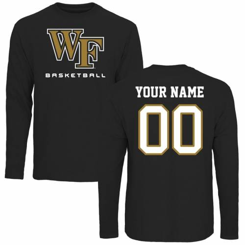 FANATICS BRANDED フォレスト バスケットボール スリーブ Tシャツ 黒 ブラック メンズファッション トップス カットソー メンズ 【 [customized Item] Wake Forest Demon Deacons Personalized Basketball Long Sleeve