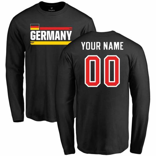 FANATICS BRANDED スリーブ Tシャツ 黒 ブラック メンズファッション トップス カットソー メンズ 【 [customized Item] Germany Personalized Name And Number Long Sleeve T-shirt - Black 】 Black