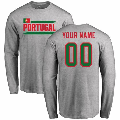 FANATICS BRANDED スリーブ Tシャツ [CUSTOMIZED ITEM] & 【 SLEEVE FANATICS BRANDED PORTUGAL PERSONALIZED NAME NUMBER LONG TSHIRT ASH 】 メンズファッション トップス Tシャツ カットソー