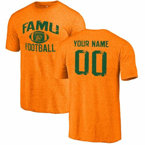 FANATICS BRANDED フロリダ Tシャツ 橙 オレンジ メンズファッション トップス カットソー メンズ 【 [customized Item] Florida Aandm Rattlers Personalized Distressed Football Tri-blend T-shirt - Orange 】 Orange