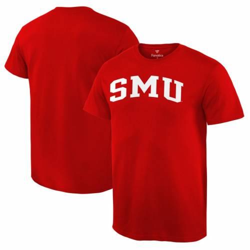 FANATICS BRANDED Tシャツ 赤 レッド 【 RED FANATICS BRANDED SMU MUSTANGS BASIC ARCH TSHIRT 】 メンズファッション トップス Tシャツ カットソー