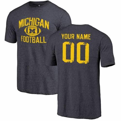 FANATICS BRANDED ミシガン Tシャツ 紺 ネイビー メンズファッション トップス カットソー メンズ 【 [customized Item] Michigan Wolverines Personalized Distressed Football Tri-blend T-shirt - Navy 】 Navy