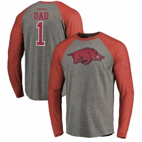 FANATICS BRANDED スリーブ ラグラン Tシャツ 灰色 グレー グレイ メンズファッション トップス カットソー メンズ 【 Arkansas Razorbacks Greatest Dad Long Sleeve Tri-blend Raglan T-shirt - Heathered Gray 】 Heath