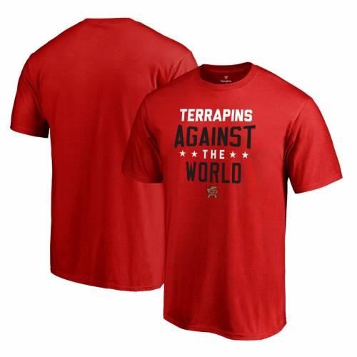 FANATICS BRANDED メリーランド Tシャツ 赤 レッド 【 RED FANATICS BRANDED MARYLAND TERRAPINS AGAINST THE WORLD TSHIRT 】 メンズファッション トップス Tシャツ カットソー
