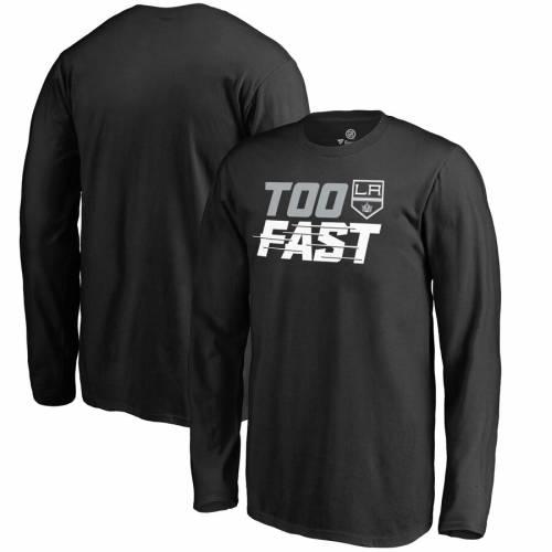 FANATICS BRANDED キングス 子供用 ファスト スリーブ Tシャツ 黒 ブラック キッズ ベビー マタニティ トップス ジュニア 【 Los Angeles Kings Youth Too Fast Long Sleeve T-shirt - Black 】 Black