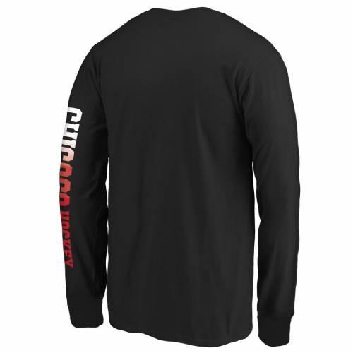 FANATICS BRANDED シカゴ 子供用 ロゴ スリーブ Tシャツ 黒 ブラック キッズ ベビー マタニティ トップス ジュニア 【 Chicago Blackhawks Youth Gradient Logo Long Sleeve T-shirt - Black 】 Black