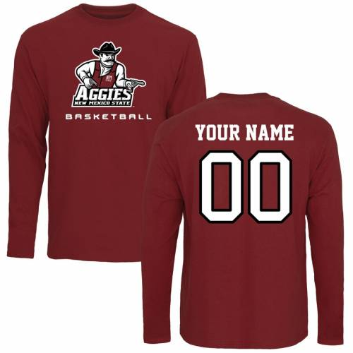 FANATICS BRANDED スケートボード バスケットボール スリーブ Tシャツ メンズファッション トップス カットソー メンズ 【 [customized Item] New Mexico State Aggies Personalized Basketball Long Sleeve T-shirt - Ma