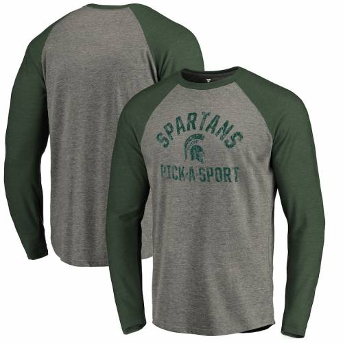 FANATICS BRANDED ミシガン スケートボード Tシャツ メンズファッション トップス カットソー メンズ 【 [customized Item] Michigan State Spartans Distressed Pick-a-sport Tri-blend Long-sleeve T-shirt - Ash 】 Ash