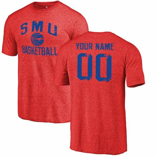 FANATICS BRANDED バスケットボール Tシャツ ワイン色 バーガンディー メンズファッション トップス カットソー メンズ 【 [customized Item] Smu Mustangs Personalized Distressed Basketball Tri-blend T-shirt - Burg