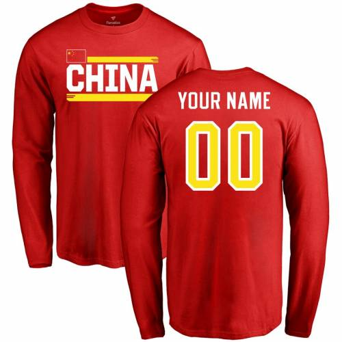 FANATICS BRANDED スリーブ Tシャツ 赤 レッド メンズファッション トップス カットソー メンズ 【 [customized Item] China Personalized Name And Number Long Sleeve T-shirt - Red 】 Red