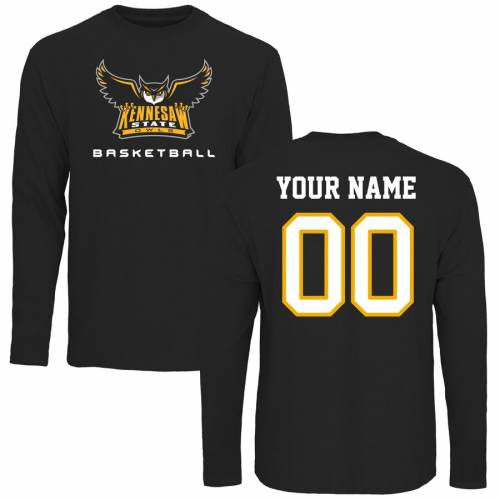 FANATICS BRANDED スケートボード バスケットボール スリーブ Tシャツ 黒 ブラック メンズファッション トップス カットソー メンズ 【 [customized Item] Kennesaw State Owls Personalized Basketball Long Sleeve