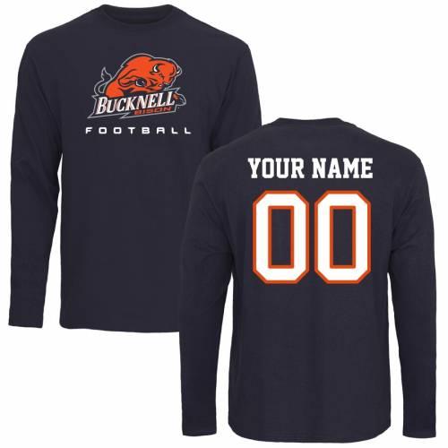 FANATICS BRANDED スリーブ Tシャツ 紺 ネイビー メンズファッション トップス カットソー メンズ 【 [customized Item] Bucknell Bison Personalized Football Long Sleeve T-shirt - Navy 】 Navy