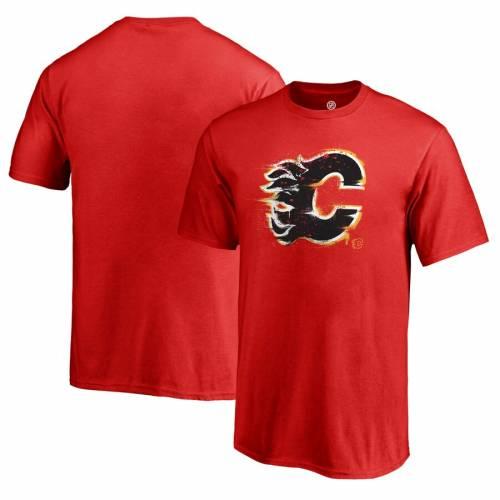 FANATICS BRANDED 子供用 ロゴ Tシャツ 赤 レッド キッズ ベビー マタニティ トップス ジュニア 【 Calgary Flames Youth Splatter Logo T-shirt - Red 】 Red