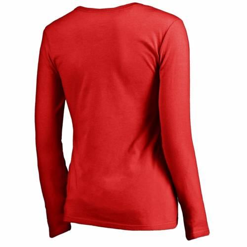 FANATICS BRANDED レディース コレクション スリーブ ブイネック Tシャツ 赤 レッド WOMEN'SSLEEVE RED FANATICS BRANDED CALGARY FLAMES ICONIC COLLECTION WE ARE LONG VNECK TSHIRTレディースファッション トッNnw8v0m