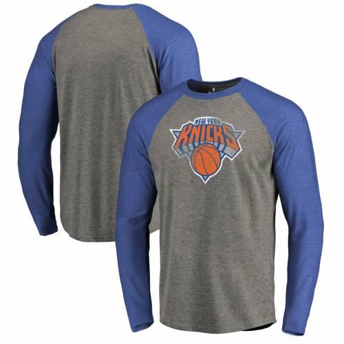 FANATICS BRANDED ニックス ロゴ ラグラン スリーブ Tシャツ メンズファッション トップス カットソー メンズ 【 New York Knicks Distressed Logo Tri-blend Raglan Big And Tall Long Sleeve T-shirt - Ash/royal 】 Ash/r
