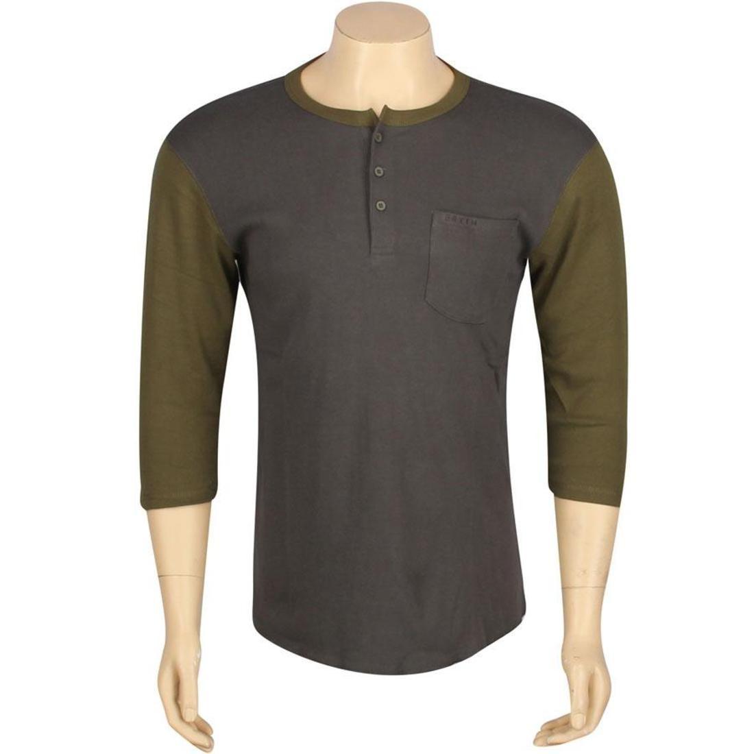 【海外限定】デトロイト Tシャツ トップス 【 BRIXTON DETROIT TEE CHARCOAL OLIVE 】