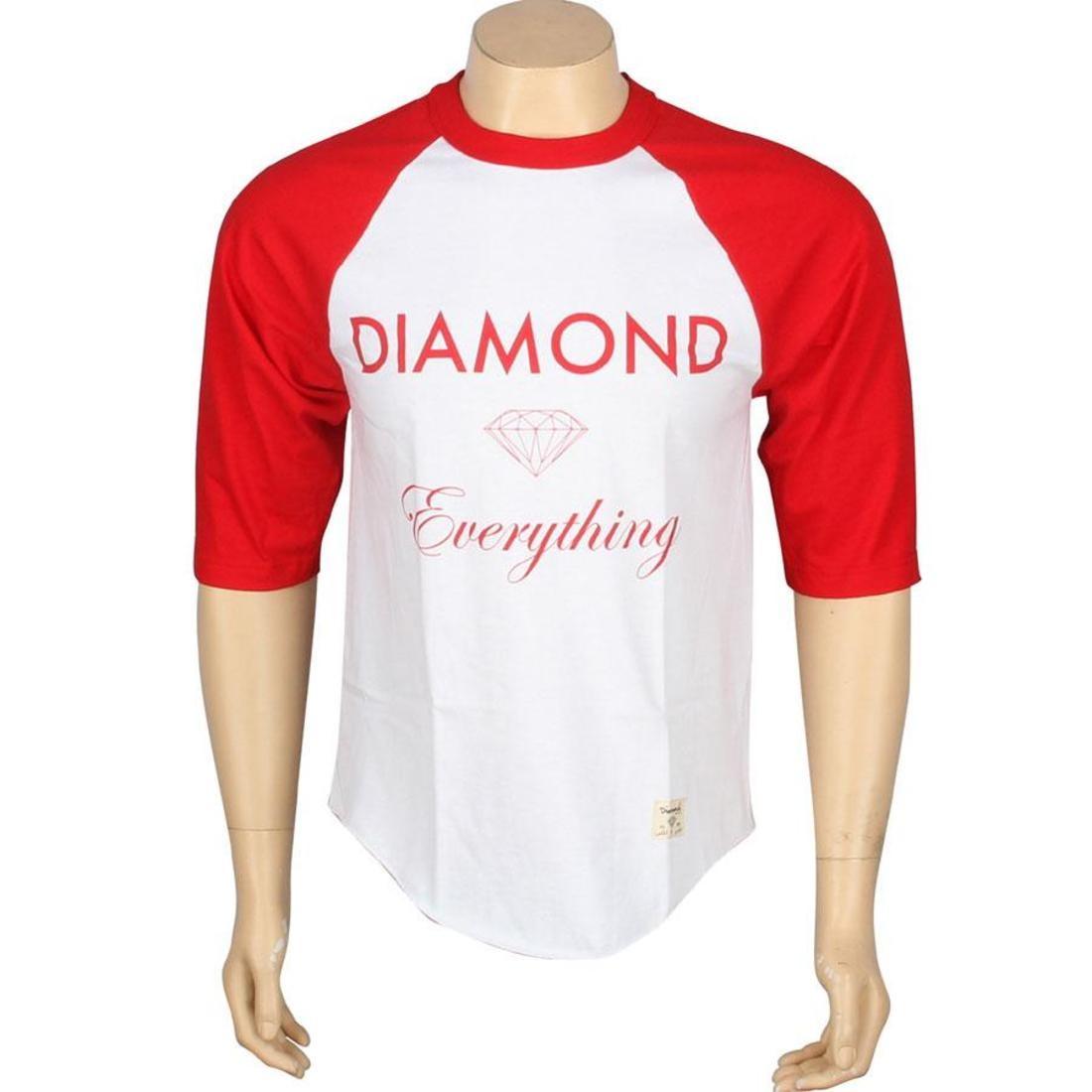 ダイヤモンドサプライ DIAMOND SUPPLY CO ダイヤモンド サプライ ラグラン Tシャツ 赤 レッド 白 ホワイト 【 SUPPLY RAGLAN RED WHITE DIAMOND CO EVERYTHING TEE 】 メンズファッション トップス Tシャツ カ