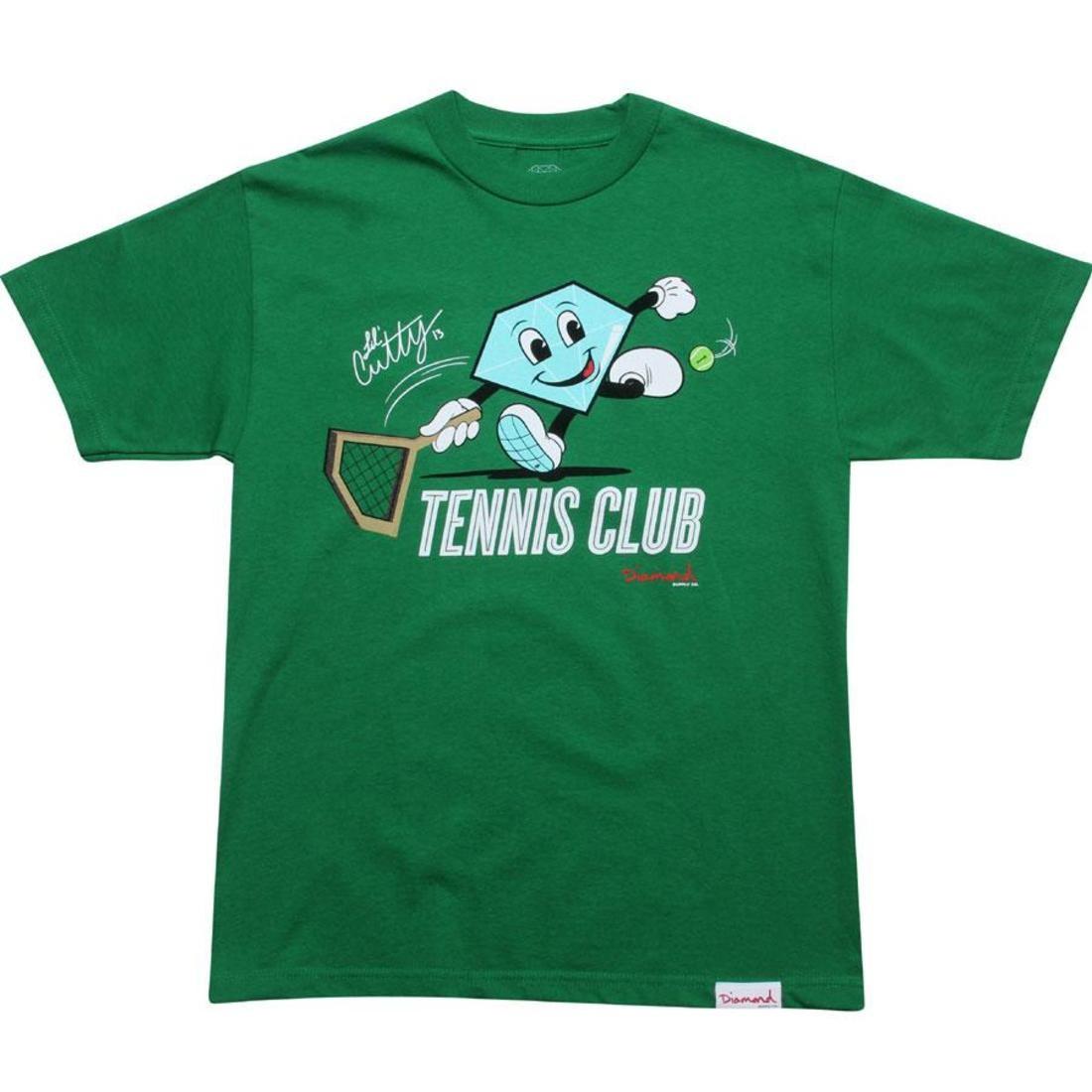 【海外限定】ダイヤモンド サプライ テニス クラブ Tシャツ LIL' メンズファッション 【 SUPPLY DIAMOND CO CUTTY TENNIS CLUB TEE KELLY 】