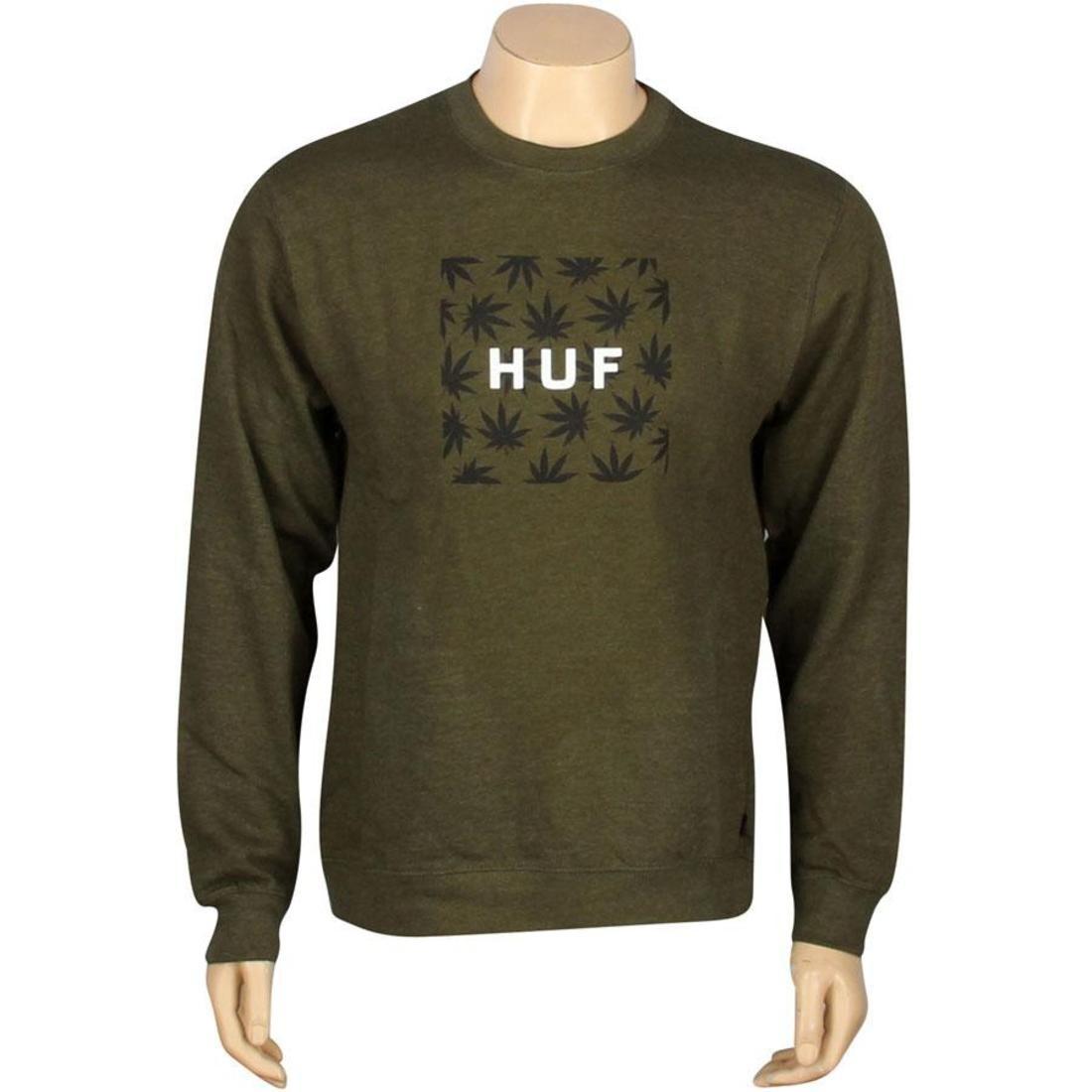 HUF プラントライフ ボックス ロゴ メンズファッション トップス Tシャツ カットソー メンズ 【 Plantlife Box Logo Crewneck (military Heather) 】 Military Heather