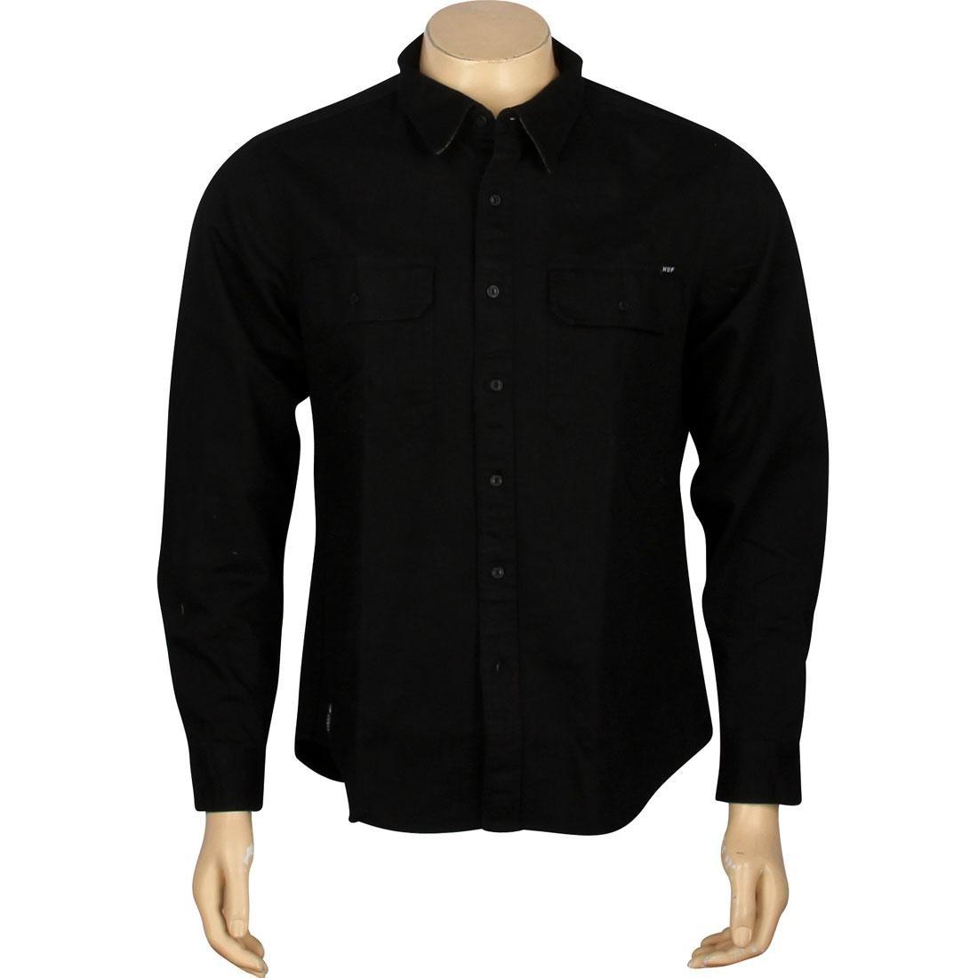 HUF ハフ スリーブ 黒 ブラック 【 HUF SLEEVE BLACK POTRERO LONG SHIRT 】 メンズファッション トップス カジュアルシャツ