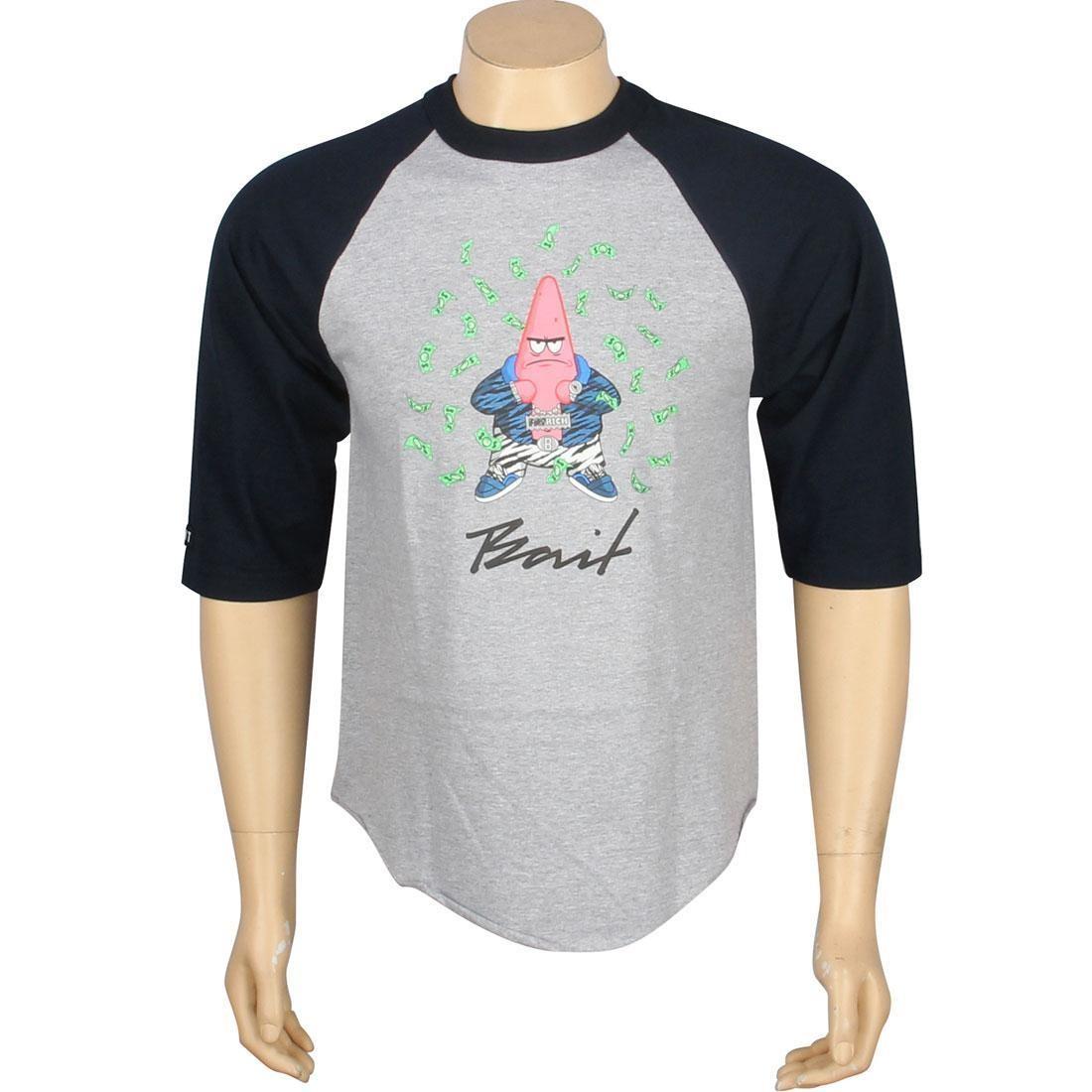 ベイト BAIT ラグラン Tシャツ ヘザー 紺 ネイビー 【 RAGLAN HEATHER NAVY BAIT X SPONGEBOB PATRICK TEE 】 メンズファッション トップス Tシャツ カットソー