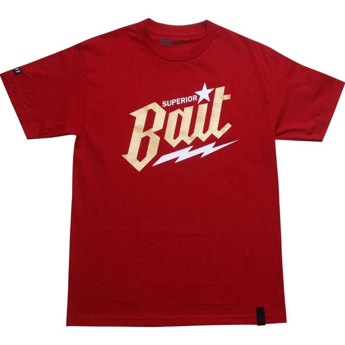 ベイト BAIT Tシャツ 赤 レッド 金色 ゴールド カーディナル 白 ホワイト 【 RED WHITE BAIT SUPERIOR TEE CARDINAL GOLD 】 メンズファッション トップス Tシャツ カットソー