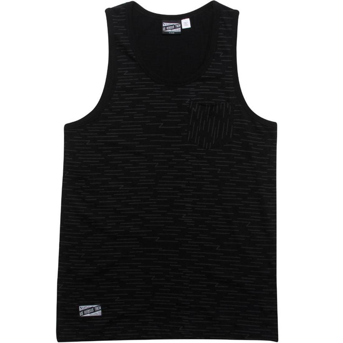 タンクトップ 黒 ブラック 【 BLACK US VERSUS THEM SIDEWAYS TANK TOP 】 メンズファッション トップス タンクトップ