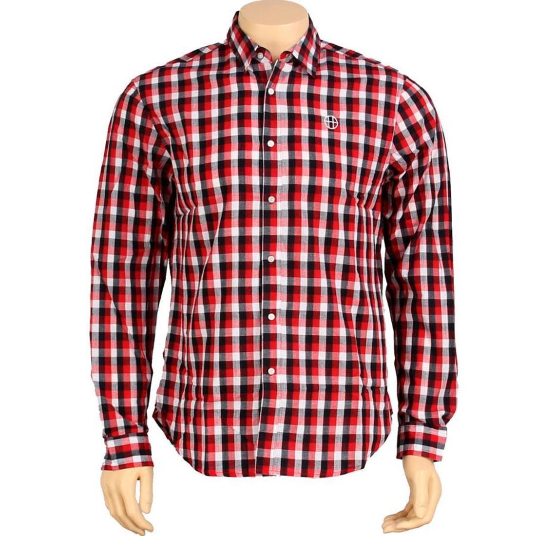 HUF ハフ 赤 レッド 【 HUF RED FT MILEY SHIRT 】 メンズファッション トップス カジュアルシャツ
