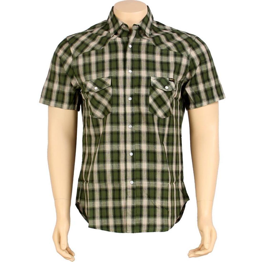 HUF ハフ 緑 グリーン 【 HUF GREEN THE SHEA SHIRT 】 メンズファッション トップス カジュアルシャツ