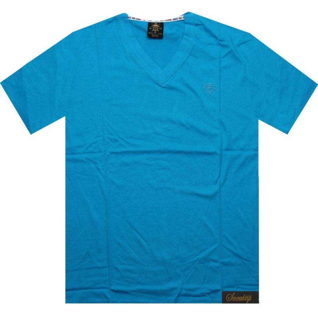 【海外限定】スニークティップ ロゴ ブイネック Tシャツ カットソー 【 SNEAKTIP LOGO VNECK TEE BLUE 】