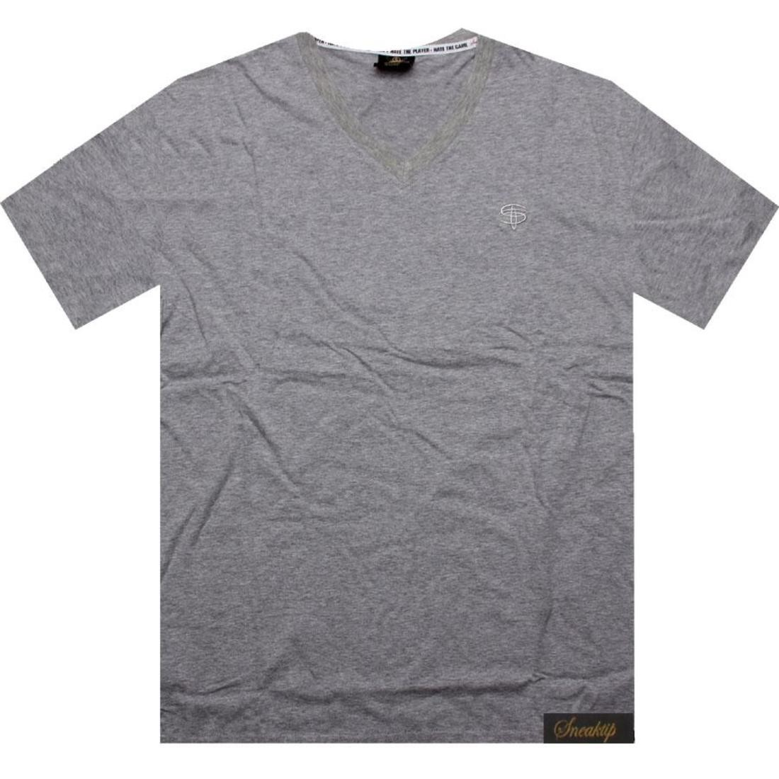 【海外限定】スニークティップ ロゴ ブイネック Tシャツ トップス メンズファッション 【 SNEAKTIP LOGO VNECK TEE HEATHER GREY 】